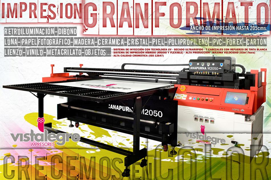 Nueva adquisición Vistalegre Impresores Anapurna M2050: impresora profesional híbrida de tecnología UV, diseñada para producir GRAN FORMATO de calidad